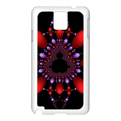 Fractal Red Violet Symmetric Spheres On Black Samsung Galaxy Note 3 N9005 Case (white)
