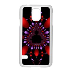 Fractal Red Violet Symmetric Spheres On Black Samsung Galaxy S5 Case (White)