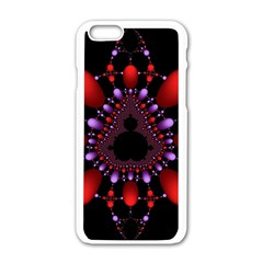 Fractal Red Violet Symmetric Spheres On Black Apple iPhone 6/6S White Enamel Case