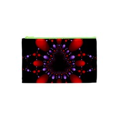 Fractal Red Violet Symmetric Spheres On Black Cosmetic Bag (xs)