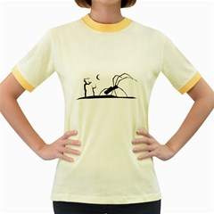 Dark Scene Silhouette Style Graphic Illustration Women s Fitted Ringer T-Shirts