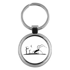 Dark Scene Silhouette Style Graphic Illustration Key Chains (Round)