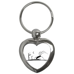 Dark Scene Silhouette Style Graphic Illustration Key Chains (Heart)