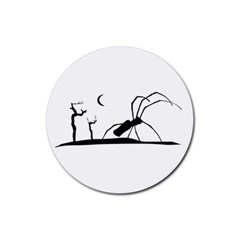 Dark Scene Silhouette Style Graphic Illustration Rubber Coaster (Round)