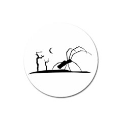 Dark Scene Silhouette Style Graphic Illustration Magnet 3  (Round)
