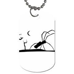 Dark Scene Silhouette Style Graphic Illustration Dog Tag (Two Sides)