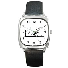 Dark Scene Silhouette Style Graphic Illustration Square Metal Watch