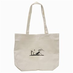 Dark Scene Silhouette Style Graphic Illustration Tote Bag (Cream)