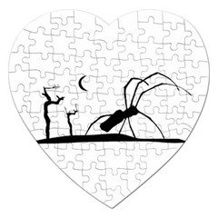 Dark Scene Silhouette Style Graphic Illustration Jigsaw Puzzle (Heart)