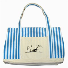 Dark Scene Silhouette Style Graphic Illustration Striped Blue Tote Bag
