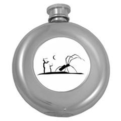 Dark Scene Silhouette Style Graphic Illustration Round Hip Flask (5 oz)