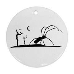 Dark Scene Silhouette Style Graphic Illustration Round Ornament (Two Sides)