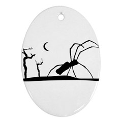 Dark Scene Silhouette Style Graphic Illustration Oval Ornament (Two Sides)
