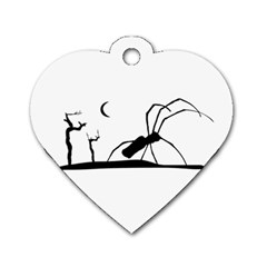 Dark Scene Silhouette Style Graphic Illustration Dog Tag Heart (One Side)