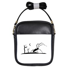 Dark Scene Silhouette Style Graphic Illustration Girls Sling Bags
