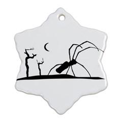 Dark Scene Silhouette Style Graphic Illustration Snowflake Ornament (Two Sides)