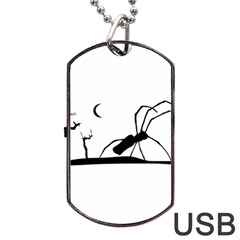 Dark Scene Silhouette Style Graphic Illustration Dog Tag Usb Flash (two Sides)