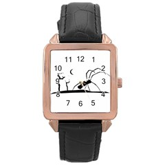 Dark Scene Silhouette Style Graphic Illustration Rose Gold Leather Watch