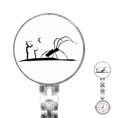 Dark Scene Silhouette Style Graphic Illustration Stainless Steel Nurses Watch