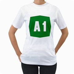Autostrada A1 Women s T-Shirt (White) (Two Sided)