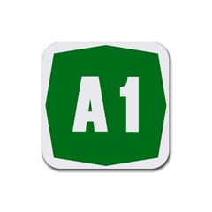 Autostrada A1 Rubber Square Coaster (4 pack)