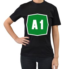 Autostrada A1 Women s T-Shirt (Black) (Two Sided)