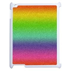 Metallic Rainbow Glitter Texture Apple iPad 2 Case (White)