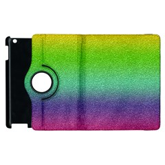 Metallic Rainbow Glitter Texture Apple iPad 2 Flip 360 Case