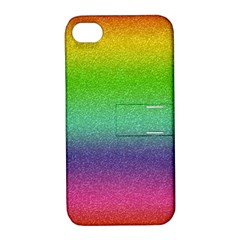 Metallic Rainbow Glitter Texture Apple iPhone 4/4S Hardshell Case with Stand