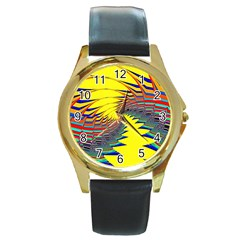 Hot Hot Summer C Round Gold Metal Watch
