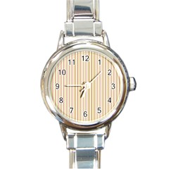 Stripes Pink And Green  Line Pattern Round Italian Charm Watch