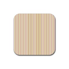 Stripes Pink And Green  Line Pattern Rubber Square Coaster (4 Pack)