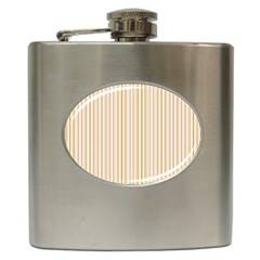 Stripes Pink And Green  Line Pattern Hip Flask (6 Oz)