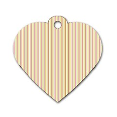 Stripes Pink and Green  line pattern Dog Tag Heart (Two Sides)