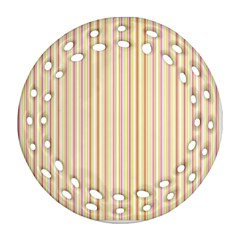 Stripes Pink and Green  line pattern Round Filigree Ornament (Two Sides)