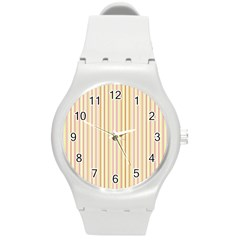 Stripes Pink And Green  Line Pattern Round Plastic Sport Watch (m)