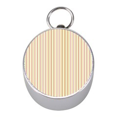 Stripes Pink and Green  line pattern Mini Silver Compasses