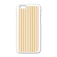 Stripes Pink and Green  line pattern Apple iPhone 6/6S White Enamel Case