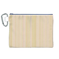 Stripes Pink And Green  Line Pattern Canvas Cosmetic Bag (xl)