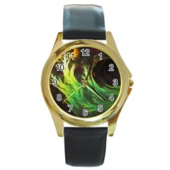 A Seaweed s DeepDream of Faded Fractal Fall Colors Round Gold Metal Watch