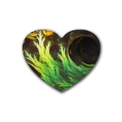 A Seaweed s DeepDream of Faded Fractal Fall Colors Heart Coaster (4 pack)