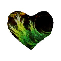 A Seaweed s DeepDream of Faded Fractal Fall Colors Standard 16  Premium Flano Heart Shape Cushions