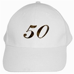 Number 50 Elegant Gold Glitter Look Typography 50th Anniversary White Cap
