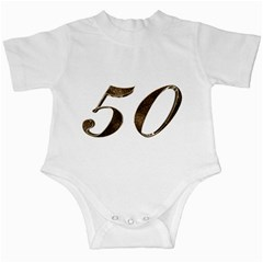 Number 50 Elegant Gold Glitter Look Typography 50th Anniversary Infant Creepers