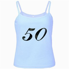 Number 50 Elegant Gold Glitter Look Typography 50th Anniversary Baby Blue Spaghetti Tank