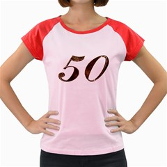 Number 50 Elegant Gold Glitter Look Typography 50th Anniversary Women s Cap Sleeve T-Shirt