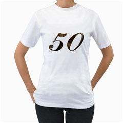 Number 50 Elegant Gold Glitter Look Typography 50th Anniversary Women s T-Shirt (White) (Two Sided)