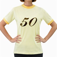Number 50 Elegant Gold Glitter Look Typography 50th Anniversary Women s Fitted Ringer T-Shirts