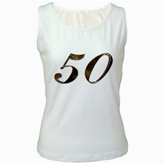 Number 50 Elegant Gold Glitter Look Typography 50th Anniversary Women s White Tank Top