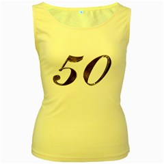 Number 50 Elegant Gold Glitter Look Typography 50th Anniversary Women s Yellow Tank Top